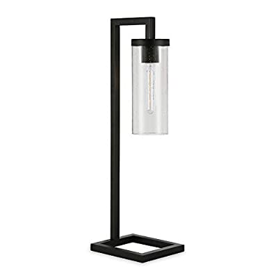 Henn&Hart TL0137 Modern Industrial Bedside Shade in Contemporary Blackened Bronze for Bedroom, Living Room, Office Table Lamp, Black/Seeded Glass
