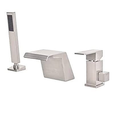 LIWEIKE Bathtub Faucet Brushed Nickel 3 Hole Roman Tub Faucet Waterfall Deck Mount Tub Faucet with Sprayer Single Handle