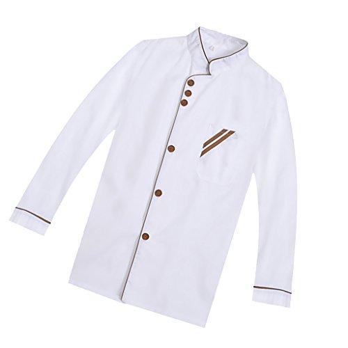 F Fityle Weiß Langarm Kochjacke Bäckerjacke mit Knöpfe Gastronomie Arbeitskleidung Koch Küchen Uniformen Kochkleidung – Weiß, XXL - 5