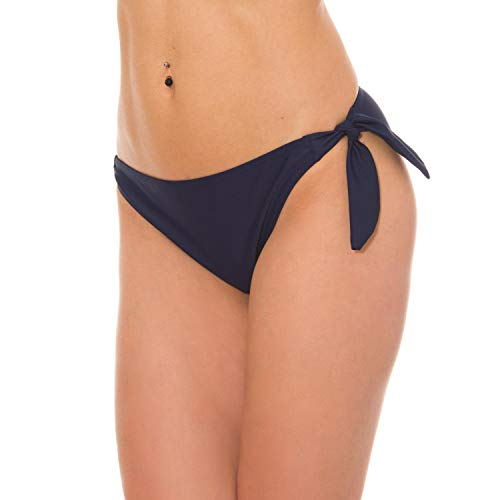 Aquarti Damen Bikinihose seitlich zum Binden Hüftslip, Farbe: Dunkelblau, Größe: 42