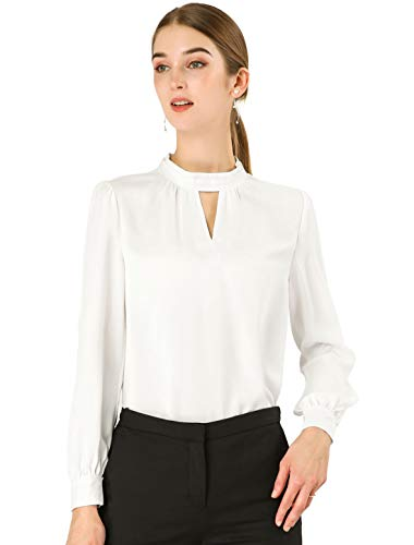 Allegra K Women's Work Office Shirt Keyhole Elegant Stand Collar Long Sleeve Chiffon Blouses Medium White