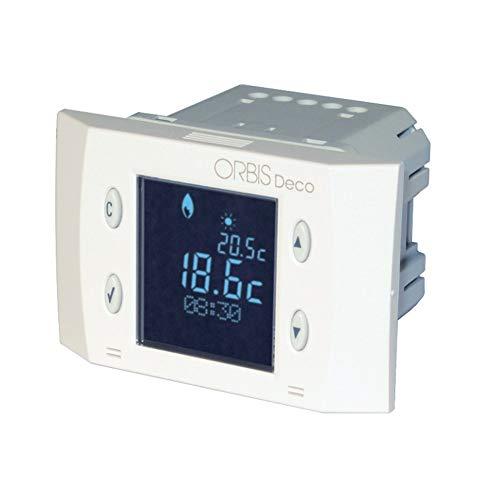 ORBIS OB350420 - Termostato digital empotrable con pantalla de retroiluminación negativa y alimentación de red.