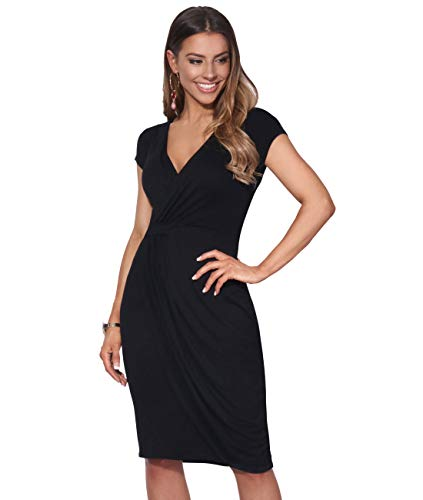 KRISP® Women Wrap Front Dress V Neck Pleated Cross Over, Schwarz (6678), EU 36 / UK 8