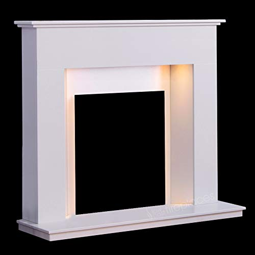 """White Marble Stone Modern Fire Surround Gas Wall Fireplace Suite with Spotlights - 1"""" Rebate"""