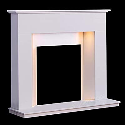 "White Marble Stone Modern Fire Surround Gas Wall Fireplace Suite with Spotlights - 1"" Rebate"