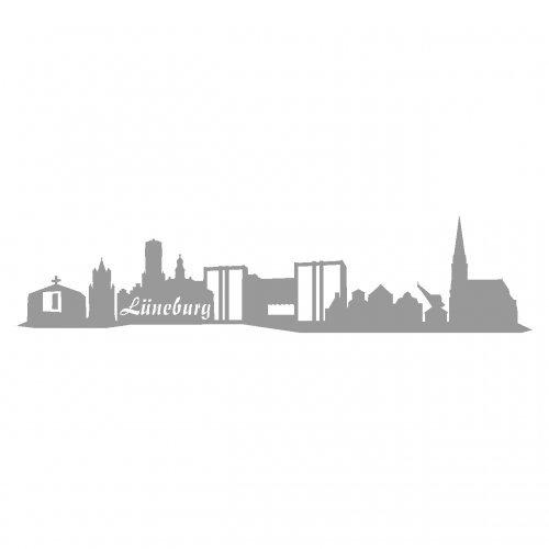 Skyline4u Aufkleber Lüneburg Skyline mehrere Größen in 8 Größen und 25 Farben (20x4,5cm grau)