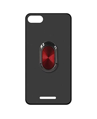 Sunrive Kompatibel mit DOOGEE X30 Hülle Silikon, 360°drehbarer Ständer Ring Fingerhalter Fingerhalterung Handyhülle matt Schutzhülle Etui Hülle (A4 Rot schwarz) MEHRWEG