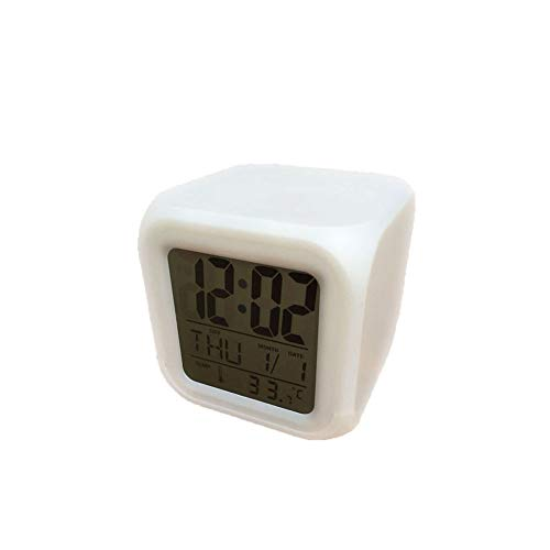 PIANYIHUO Reloj despertadorRectángulo mini cama pequeño cama compacto viaje cuarzo pitido despertador reloj de moda lámpara de mesita de noche kit de música decoración del hogar,