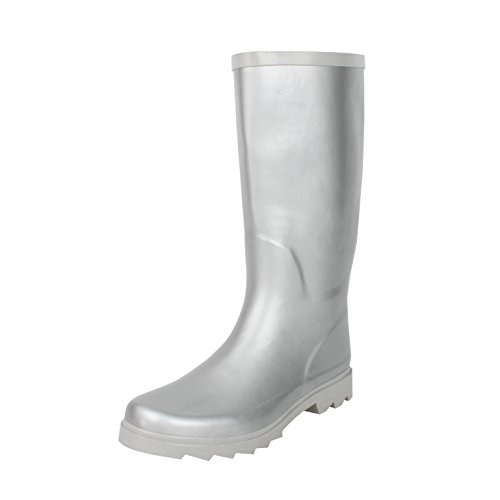 West Blvd Rainboots Rain-Shoes, Silver Rubber, 7.5