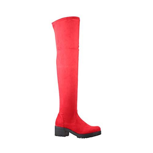 Elara Damen Stiefel Overknees Wildlederoptik Chunkyrayan ZY5003 Red-38