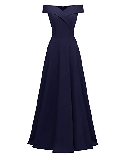 Viloree Damen Abendkleid Langes Kleid Brautjungfer Cocktail Ballkleid Schulterfrei Party festlich Navy XXL