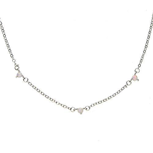 Gargantilla corta con cadena llena de oro, collar de 3 mm, 3 piezas, ópalo de fuego blanco, ópalo de moda femenina, elegante, impresionante collar, 36 + 7 cm