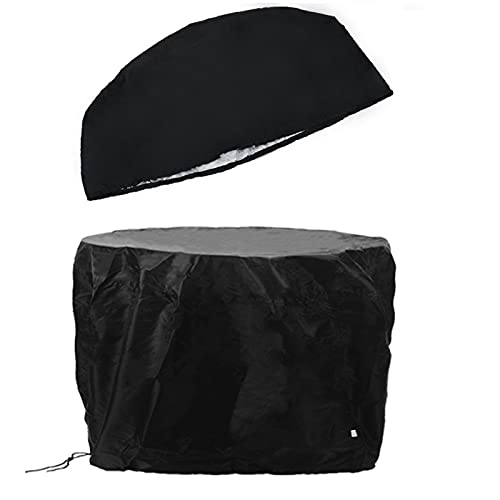 77x58cm Waterproof BBQ Cover Heavy Duty Round Fire Pit Barbecue Cooking Grill Round Canopy Shelter Covers Black Bbq Cover