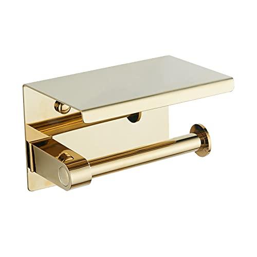 BVL Toilettenpapierhalter Gold Klopapierhalter aus Edelstahl 304 mit Ablage Wandmontierter WC rollenhalter für das Badezimmer (Gold)