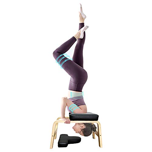 UNCHAIN Yoga Headstand Bench Wood Stand, Yoga Inversion Chair Stool Handstand with PU Cushion Pads, Solid Fitness Bench Perfect for Both Beginner and Experience Yogis (Black)