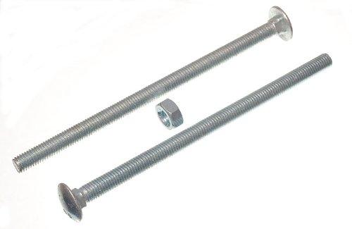 Tasse Quadrat Trainer M10 10mm 180mm Vollgewinde mit Nüssen BZP (Packung mit 100)