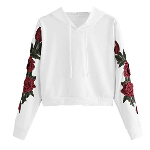 DEELIN Sweatshirt à Capuche Court à la Mode des Femmes imprimé Drapeau américain (Medium, Blanc&A)