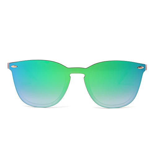 Gafas de Sol Sin Montura Una Pieza de Espejo Reflexivo Anteojos Para Hombre Mujer(Transparente Mate/Verde Espejo)