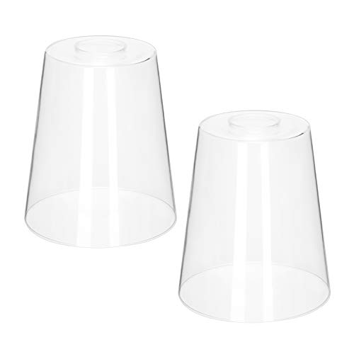 2 Pack Clear Glass Shade, 1.69in Fitter, 6.7in High, 5.9in Diameter, Lighting Fixture Replacement High Transmittance Pendant Light Shade Bell Shaped Accessory Glass Lamp for Chandelier, Wall Sconce