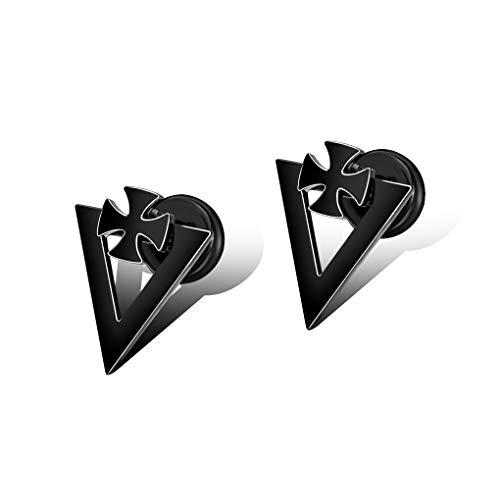 WANGLXST Fijne Cross Titanium Steel Stud Oorbellen Titanium Steel Oorbellen Trendy Mannelijke Oorbellen RVS Piercing Sieraden Zwarte Stud Oorbellen voor Mannen Unisex
