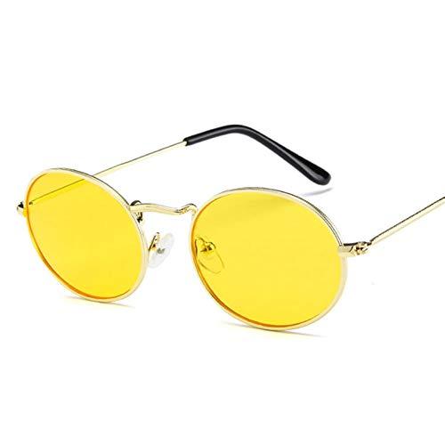 SCAYK Pequeñas Gafas de Sol Oval Mujeres Vintage Sun Gafas de Sol Marco de Metal UV400 Gafas de Sol Gafas de Ojos Gafas de Sol de Moda para Mujeres (Lenses Color : C5Yellow)