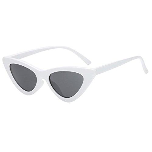 gazechimp Anti-UV Lady Women Sunglasses Frame Estilo De Olho De Gato Óculos De Sol Clássicos Ao Ar Livre - Branco fram lente cinza profundo