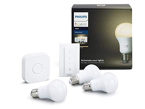 Philips Hue Hue White Kit de 3 Bombillas LED E27 con Puente e Interruptor, 9W, iluminación Inteligente, luz Blanca cálida Regulable, Compatible con Apple Homekit y Google Home, 9 W, Mando