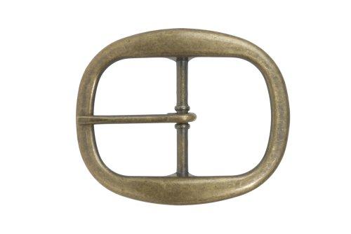 1 1/2 Inch Nickel Free Center Bar Single Prong Oval Belt Buckle, Brass