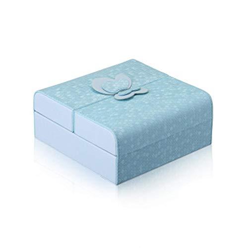 POMNEFE Joyero, caja de joyería para mujer, caja de joyería abierta doble, caja de almacenamiento cosmética, caja de viaje, soporte de exhibición de pendiente