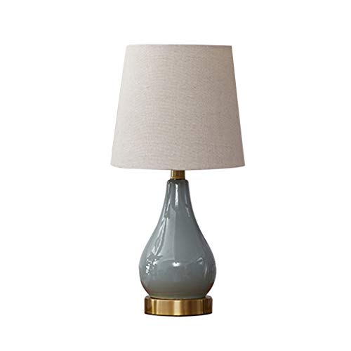 ZWeiD nachttafellamp, keramiek, slaapkamer, werkkamer, leeslamp, wit, grijs-blauwe vaas, vorm koperbasis, tafellamp, E27 Button Control, 2 maten, bureaulamp, verlichting tafellamp