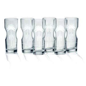 Afri-Cola Exclusive-Tumbler 0,2l Contour Glas Gläser Set - 6X Gläser 0,2l geeicht Kult Cola Longdrinkglas Designglas Palmenlogo Softdrinkglas Bar