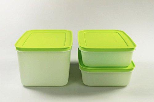 TUPPERWARE Gefrier-Behälter 2,5 L + 1,0 L (2) grün Kristall Eiskristall