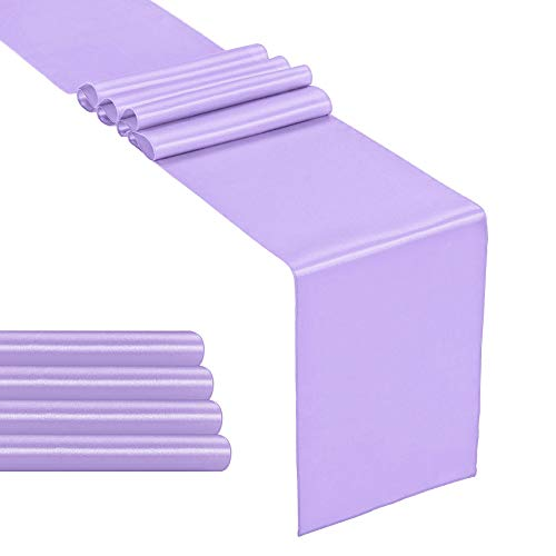 Hahuho 5-Pack Satin Table Runner Lavender 12 x 108 inches Long, Table Runners for Wedding, Birthday Parties, Banquets Decorations(5 Pack, 12x108 Inch, Lavender)