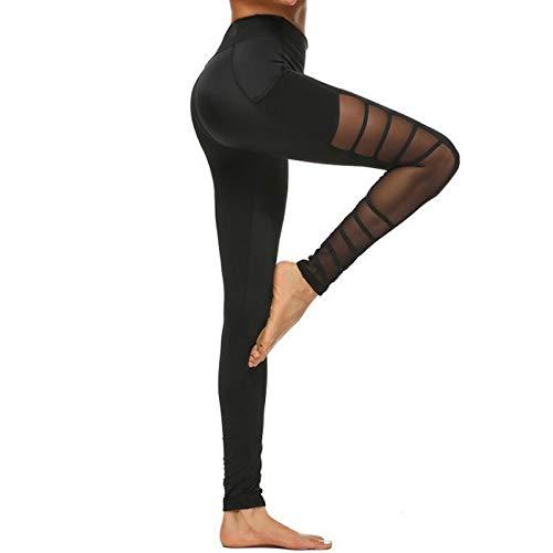 Leggings de compresión para mujer, para yoga, cintura alta, para correr, para hacer deporte, anticelulitis, Negro , XL