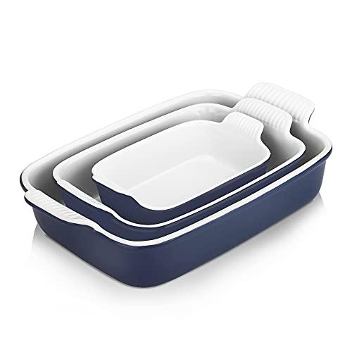 Nucookery Baking Dishes, 3Pcs Ceramic Cookware, Bakeware Set, Rectangular Baking Pans Set, Casserole Dish for Cooking, Cake Dinner, Kitchen, Oven, Microwave, Dishwasher Safe (Navy)