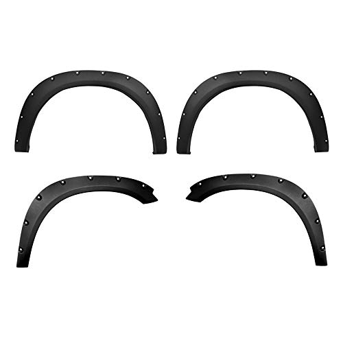 MaxMate Premium Fender Flares for 2009-2018 Dodge Ram 1500; 2019 Ram 1500 Classic (Fleetside Models ONLY) | Excl. R/T and Rebel Models | Rough-Textured Black Pocket Bolt-Riveted Style 4pc