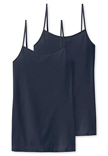 Schiesser Damen Unterhemd Spaghettitop, 2er Pack, Blau (Nachtblau 804), 40