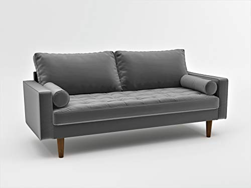Container Furniture Direct S5457 Mid Century Modern Velvet Upholstered Tufted Living Room Sofa, 69.68', Grey