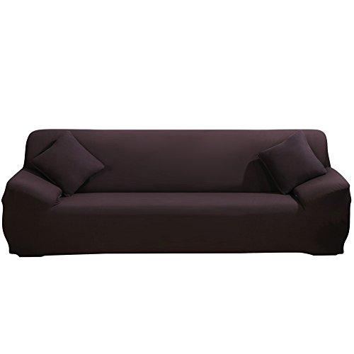 ele ELEOPTION Sofa Überwürfe Sofabezug Stretch elastische Sofahusse Sofa Abdeckung in Verschiedene Größe & Farbe Herstellergröße 235-300cm (Dunkelbraun, 4 Sitzer für Sofalänge 220-300cm)