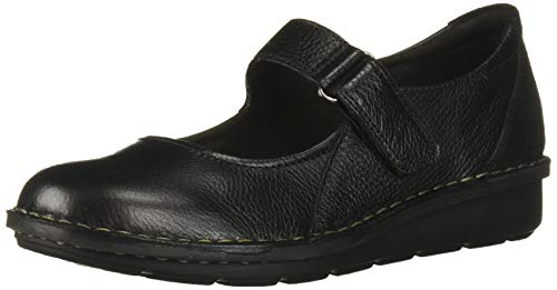Clarks womens Michela Penny Mary Jane Flat, Black Leather/ Suede Combi, 8.5 Wide US