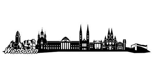 Samunshi® Wiesbaden Skyline Aufkleber Sticker Autoaufkleber City Gedruckt in 8 Größen (20x4,3cm schwarz)