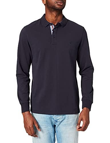 Springfield Polo Manga Larga Logo Bordado Camiseta, Azul Oscuro, S para Hombre