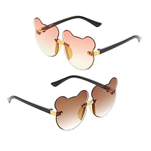 freneci 2pcs Verano Dibujos Animados Gato Gafas de Sol Sin Montura Playa Decoración Niño UV400 Moda