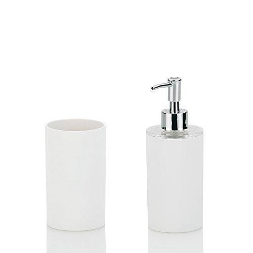 Kela 390101, Badset, 3-tlg., 1 Seifenspender/ 2 Becher, Kunststoff, Farbmix, Lis, Weiß