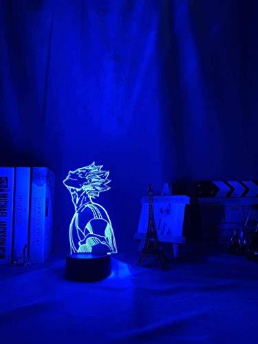 Luz de noche Anime 3D Óptica Mesita de noche Lámpara de escritorio Anime Haikyu Bokuto Luz para Dormitorio Decoración Lámpara LED Luz de Noche 7 Colores Touch Anime Lámpara