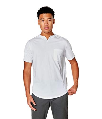 Good Man Brand Men's Premium Cotton Jersey Notch Neck Crew, White, XL