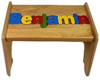 babykidsbargains Personalized Wooden Puzzle Stools- Stool Color: Natural, Letter Color: Primary, 1-8 Letters