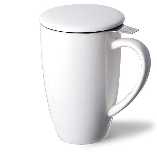SWEEJAR Porcelain Tea Mug with Infuser and Lid, 16 OZ