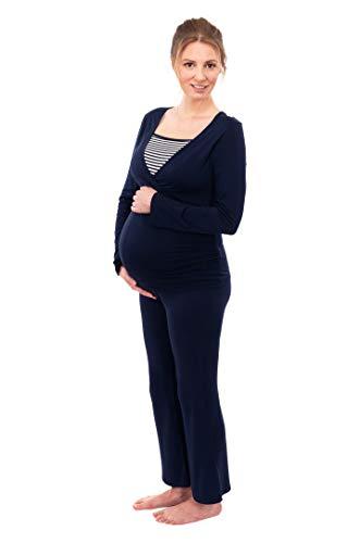 Herzmutter Stillpyjama-Umstandspyjama - Gestreifter Schlafanzug für Damen - Nachtwäsche für Schwangerschaft-Stillzeit - weiches Pyjama-Set mit Stillfunktion - Lang-Langarm - 2100 (L, Blau/Weiß)