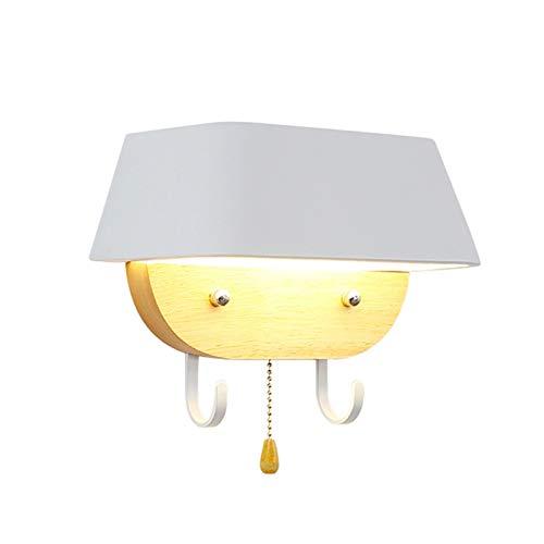 YXLMAONY Moderno Cuerpo de la lámpara de Madera Maciza, lámpara de Pared de Fuente de luz de Parche LED con Interruptor de tirón, lámpara de Pared de decoración de Pared Interior, lámpara de Noche de